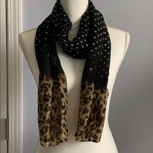 Black with white polka dots & brown animal print